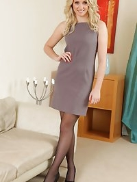 Stacey in stunning grey dress and suspenders