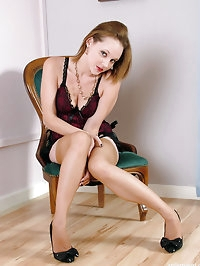 Cute Carrie is wearing some gorgeous nylon lingerie,..
