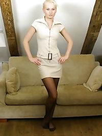 Cute blonde Karen in minidress and pantyhose