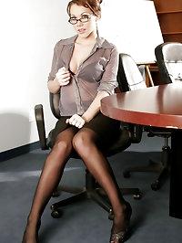 Redhead secretary Sam double cock stuffed