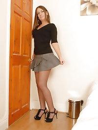 Tamzin - Short skirt, pantyhose and lingerie