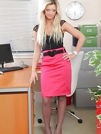 Zuziana in tight pink pencil skirt revealing a gorgeous..