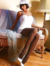 Sexy lady LilyWOW in hot dark pantyhose and high heels