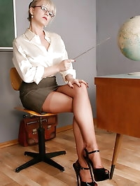 Office Slut in Seamed Stockings