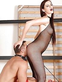 Mistress Mira flogs a dick and sack