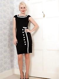 Kiana looks fabulous in her retro dress, undies, vintage..