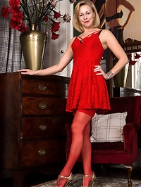 Looking hot as hell in a little red dress, Lucy Lauren..