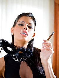 Elegant smoking babe gives blowjob and fucked by big cock