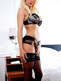 Busty British Blonde Cougar Milf Tia Layne Swallows Cumshot
