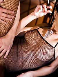 Smoking brunette slut gets double penetrated