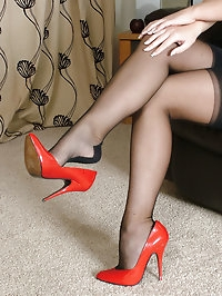 These red stiletto shoes make this blonde look real slutty