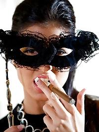 Elegant smoking babe gives blowjob and fucked