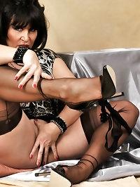 Amanda delights in nylon