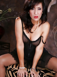 Black dress and lingerie on sexy pornstar