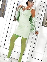 Green stockings on long legs