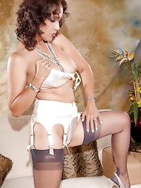 Cute brunette mom in her sexy-looking stockings
