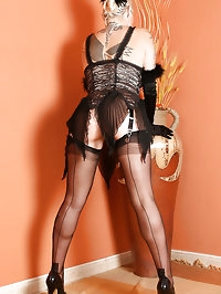 Tattooed Angel Ginette goes burlesque in a Vegas dress and..