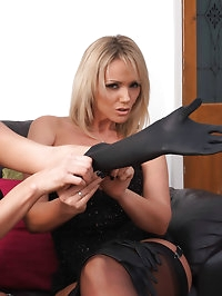 Leather glove loving lesbians are always a treat to watch