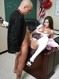 Slutty student tells her teacher about her crush on him..