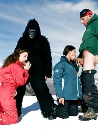 Two girls are skiing and fucking this monster