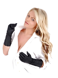 Gorgeous Charley uses her leather gloved fingers to open..