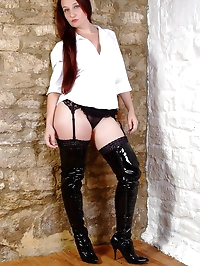 Sexy Milf Sammy B teases her shiny thigh high leather..