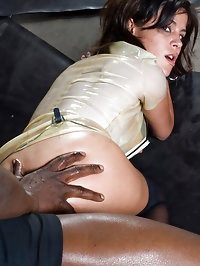 Chick gets creampied in the ass by black cock