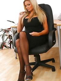 Naughty Jennifer lets her black minidress hit the floor as..