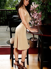 34 year old Lily slips off her elegant dress and shows off..