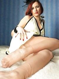 elegant nylons in the bedroom