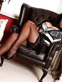 Danica Collins in lace topped stockings and 6 heels