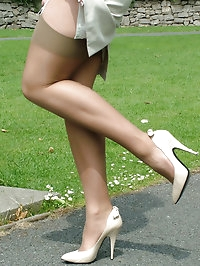 A walk in the park in fully fashioned stockings and cream..