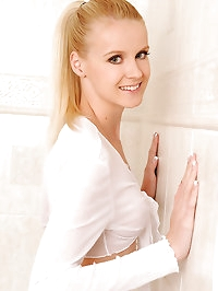 Samantha in stockings in bathroom