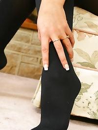 Cute blonde Jessie wearing a denim miniskirt with black..