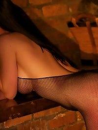 Miss Hybrid Fireside toy fun in a crothless fishnet..